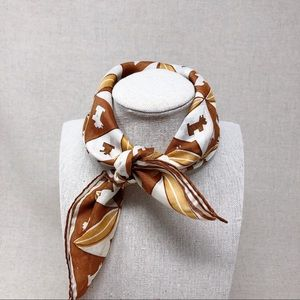 Vintage Neck or Purse Scarf Brown and White Dogs